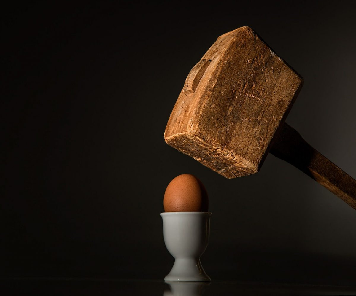 Mallet smshing an egg