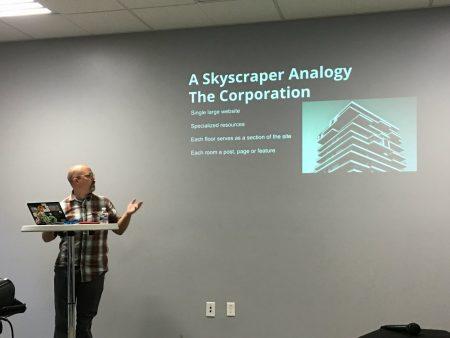 Joseph Dickson presenting at WordCamp Riverside 2017