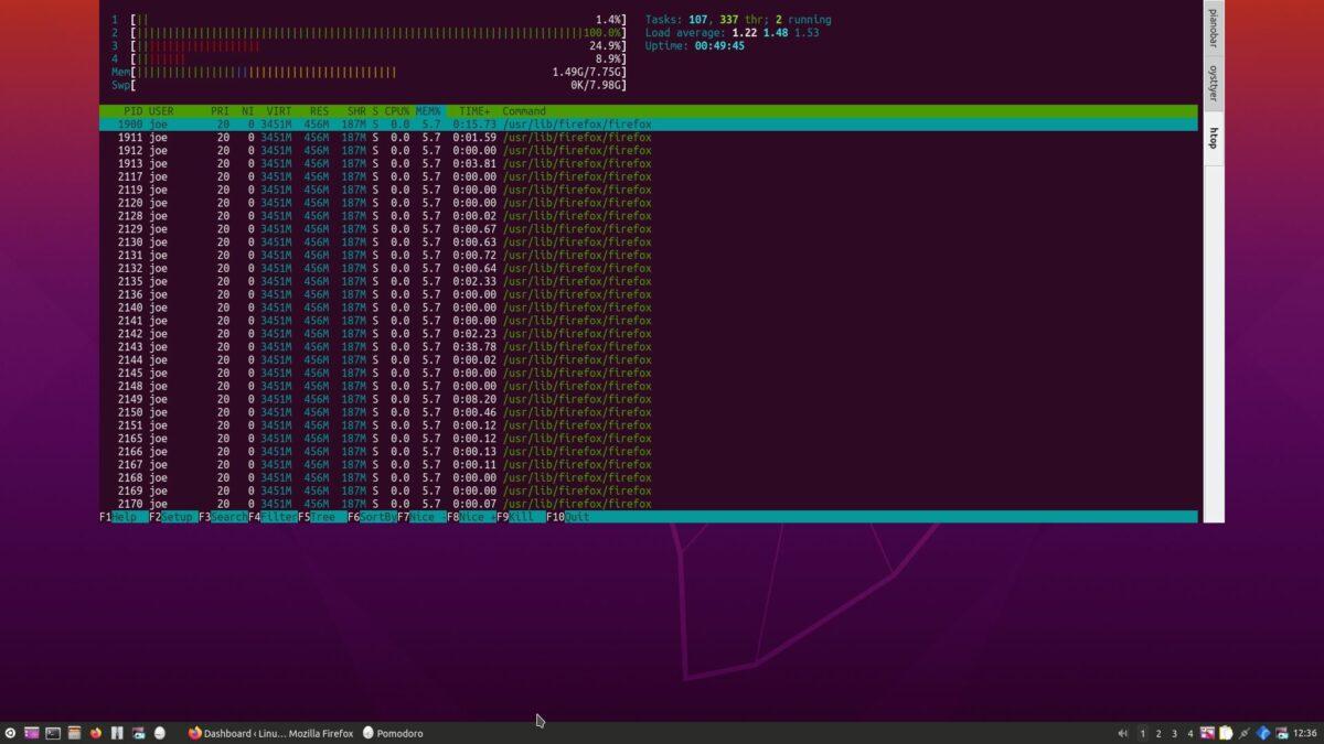 Firefox RAM usage in htop