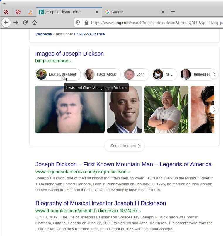 Joseph DIckson Bing Search Results